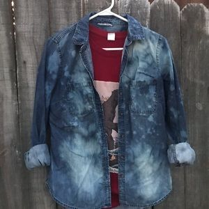 Upcycled distressed bleached jean shirt size small